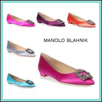 Manolo Blahnik Hangisi Blended Fabrics Plain Party Style With Jewels Slip-On Shoes