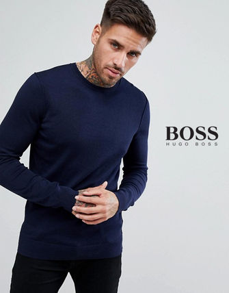 Hugo Boss Knits & Sweaters Crew Neck Pullovers Cashmere Long Sleeves Knits & Sweaters