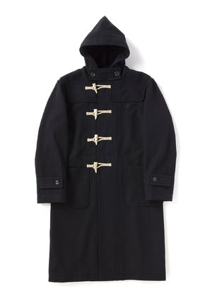 FRED PERRY Wool Street Style Plain Long Duffle Coats