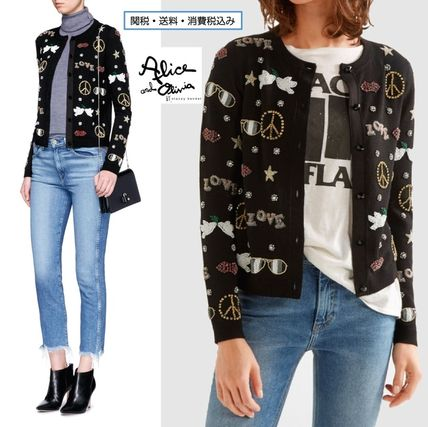 Casual Style Wool Long Sleeves Medium With Jewels Cardigans