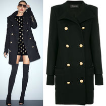 BALMAIN 17-18 AW BAL 173 FUNNEL NECK DOUBLE BREASTED COAT