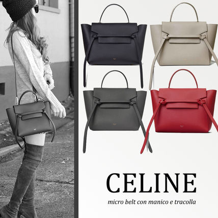 Celine Belt 2018 19aw 2way Plain Leather Elegant Style Handbags By クランジュ Ma