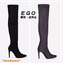 EGO Suede Plain Pin Heels Elegant Style Over-the-Knee Boots