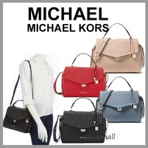 Michael Kors Studded 2WAY Plain Leather Office Style Handbags