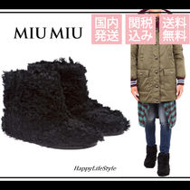 MiuMiu Casual Style Plain Ankle & Booties Boots