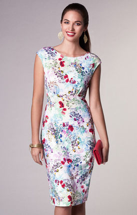 Alie Street Flower Patterns Tight Sleeveless Boat Neck Medium Dresses