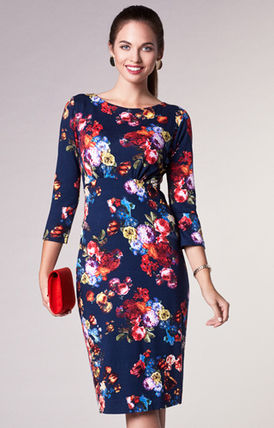 Alie Street Flower Patterns Tight Boat Neck Cropped Medium Dresses