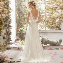 Sleeveless V-Neck Long Wedding Dresses
