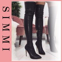 SIMMI Faux Fur Pin Heels Python Elegant Style Over-the-Knee Boots