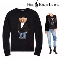 POLO RALPH LAUREN Crew Neck Cable Knit Casual Style Wool Long Sleeves