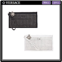 VERSUS VERSACE Unisex Studded Bag in Bag Leather Elegant Style Clutches