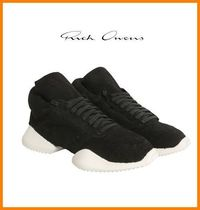 RICK OWENS Collaboration Plain Leather Sneakers