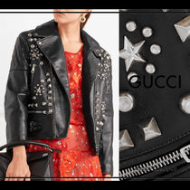 GUCCI Star Studded Plain Leather Medium Biker Jackets