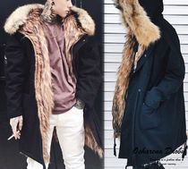 Unisex Faux Fur Blended Fabrics Street Style Plain Long