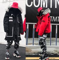Stripes Faux Fur Street Style Plain Long Parkas