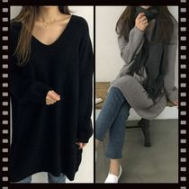 NANING9 Rib V-Neck Long Sleeves Plain Long Oversized Elegant Style