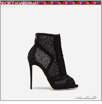 Dolce & Gabbana Open Toe Suede Plain Pin Heels Party Style