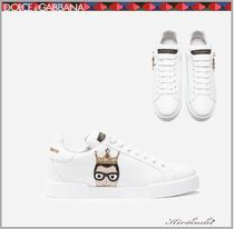 Dolce & Gabbana Plain Toe Rubber Sole Casual Style Leather With Jewels