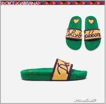 Dolce & Gabbana Heart Plain Toe Rubber Sole Casual Style Slippers Sandals