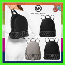 Michael Kors RHEA Casual Style Studded Plain Leather Backpacks