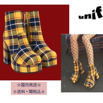 UNIF Clothing Tartan Round Toe Casual Style High Heel Boots