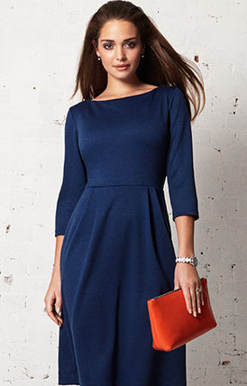 Alie Street A-line Boat Neck Cropped Plain Medium Dresses