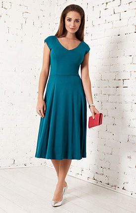 Alie Street Sleeveless Flared V-Neck Plain Medium Elegant Style Dresses