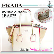 PRADA DOUBLE 2WAY Plain Leather Elegant Style Totes