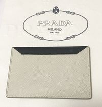 PRADA Saffiano Plain Leather Card Holders