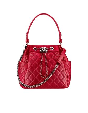 Red/SHW Quilted Lambskin Drawstring Bag
