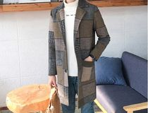 Other Check Patterns Zigzag Street Style Long Chester Coats