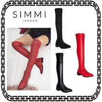 SIMMI Casual Style Suede Plain Other Animal Patterns Block Heels