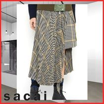 sacai Other Check Patterns Casual Style Wool Long Maxi Skirts