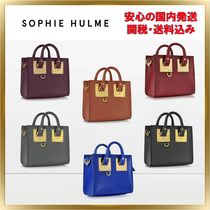 SOPHIE HULME Albion Plain Leather Elegant Style Totes