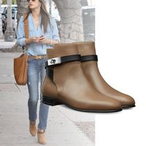HERMES Casual Style Plain Leather Boots Boots