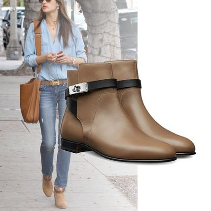 more photos 36b32 ddb32 HERMES 2017-18AW Casual Style Plain Leather Boots Boots ...