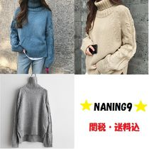 NANING9 Casual Style Long Sleeves Plain Medium Turtlenecks