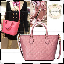 GUCCI Embossed GG Supreme Print Tote Bag (Pink/Powder Pink)