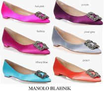 Manolo Blahnik Hangisi Plain With Jewels Elegant Style Pointed Toe Pumps & Mules