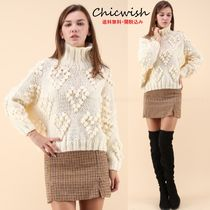 Chicwish Heart Casual Style Long Sleeves Medium Turtlenecks