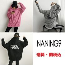 NANING9 Crew Neck Casual Style Long Sleeves Plain Cotton Long