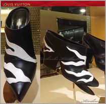 Louis Vuitton Leather Block Heels Elegant Style Ankle & Booties Boots