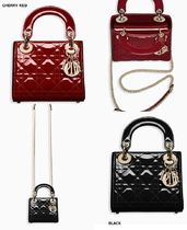 Christian Dior LADY DIOR Calfskin 2WAY Plain Elegant Style Bold Handbags