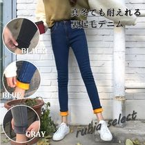 Casual Style Street Style Plain Cotton Long Skinny Jeans