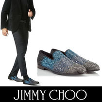 Jimmy Choo Plain Toe Plain Leather With Jewels Loafers & Slip-ons
