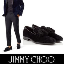 Jimmy Choo Plain Toe Velvet Tassel Plain Loafers & Slip-ons