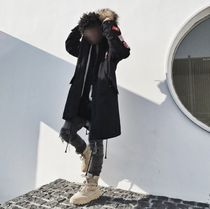 Faux Fur Street Style Plain Long Parkas