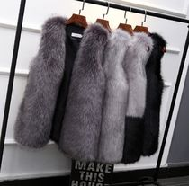 Faux Fur Street Style Plain Medium Fur Vests Elegant Style