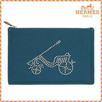 HERMES Canvas Studded Pouches & Cosmetic Bags