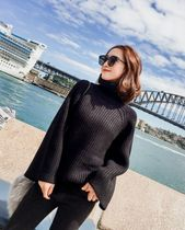 Plain Oversized Puff Sleeves Sweaters